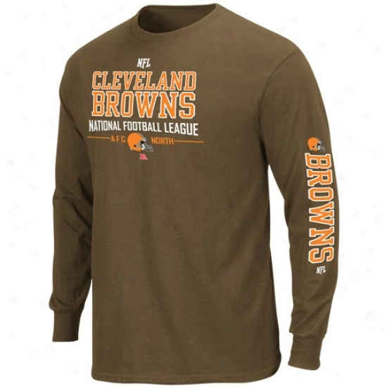 Cleveland Browns Shirts : Cleveland Browns Brown Primary Rwceiver Long Sleeve Shirts