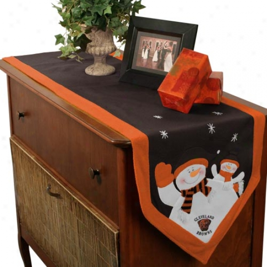 Cleveland Browns Snowman Table Runner