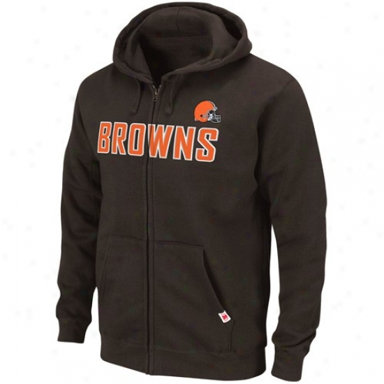 Cleveland Browns Sweatshrits : Cleveland Browns Brown Classic Heavyweight Full Zip Sweatshirts