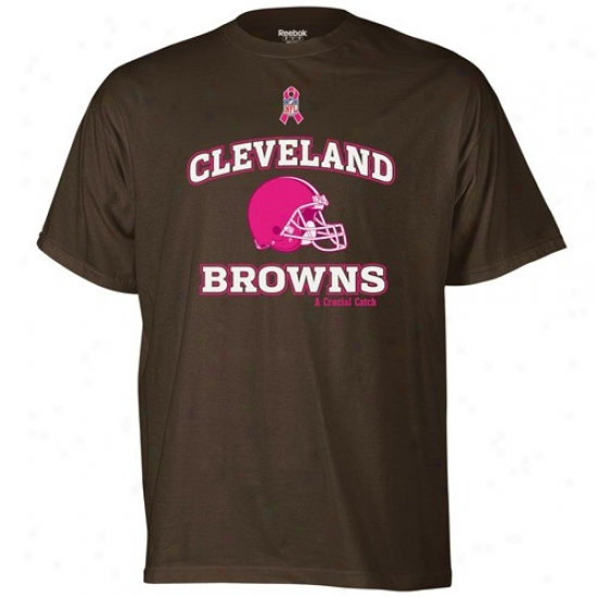 Cleveland Browns T Shirt : Reebok Cleveland Browns Brown Breast Cancer Awareness T Shirt