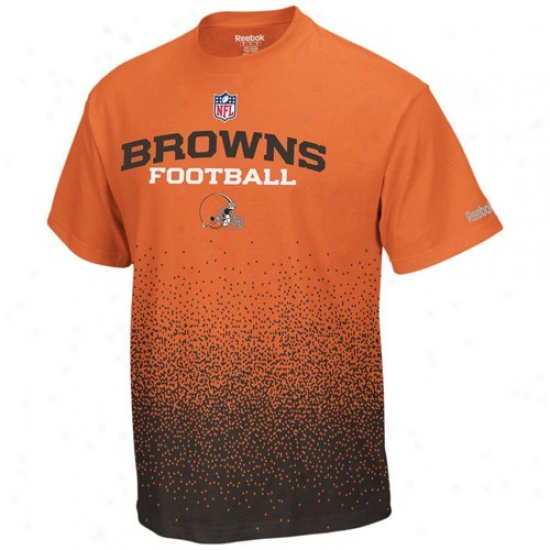 Cleveland Browns Tees : Reebok Clevelsnd Browns Orange Drift Sideline Tees