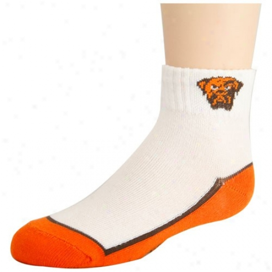 Cleveland Browns Toddler Whitr-orange Quarter Socks