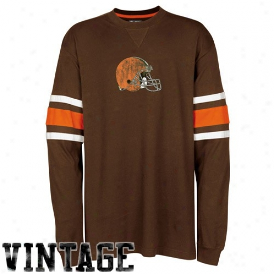 Cleveland Browns Tshirte : Cleveland Browns Brown End Thread Long Sleeve Vintage Tshirts