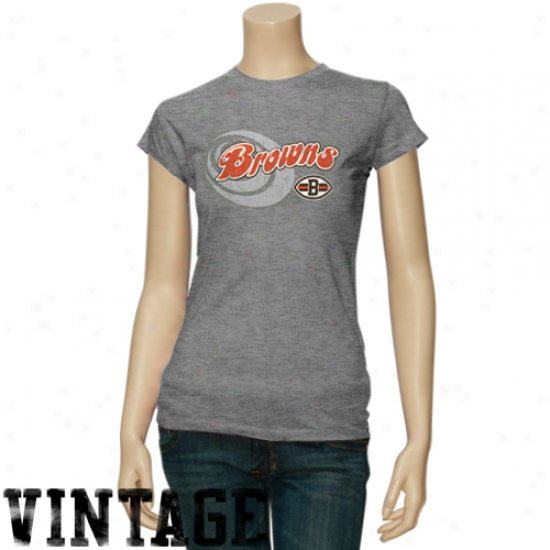Cleveland Browns Tshirts : Cleveland Browns Ladies Ash Heather Tirblend Tshirts