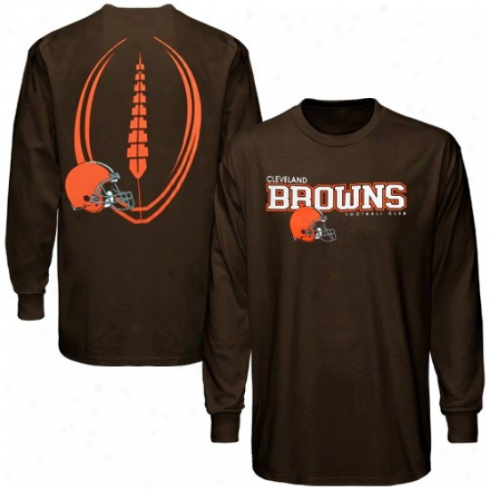 Cleveland Browns Tshirts : Reebok Cleveland Browns Brown Ballistic Long Sleeve Tshirts