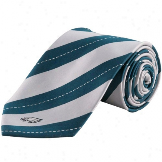 Colony Sportswear Philadelphia Eagles Silver-green Rep Stripe Tie
