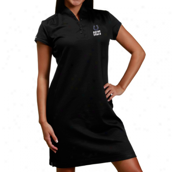 Colts Apparel: Reebok Colts Ladies Black Shawl Collar Polo Dress