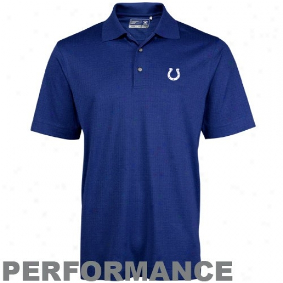Colts Clothing: Cutter & Buck Colts R0yal Blue Drytec Luxe Element Jacquard Performance Polo