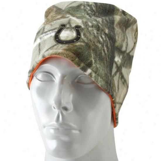 Colts Gear: Reebok Colts Real Tree Camo-orange Reversible Knit Beanie