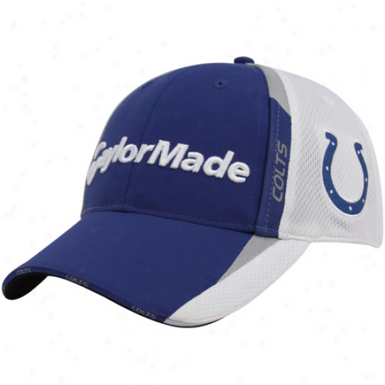 Colts Hats : Taylormade Colys Royal Blue-white 2010 Nfl Golf Adjustable Hats
