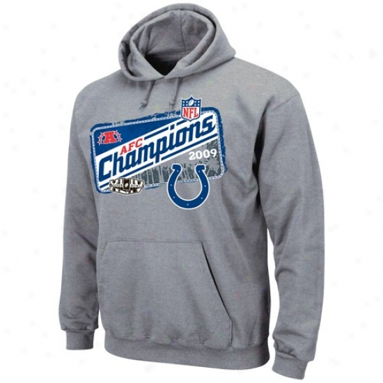 Colts Hoodies : Colts Ash 2009 Afc Champions Locker Room Hoodies