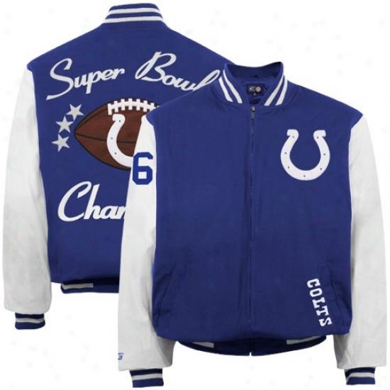 Colts Jacket : Colts Royal Blue-white '06 Super Bowl Champions Canvas Varsity Jacekt