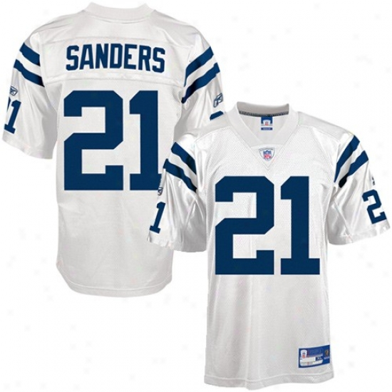 Colts Jersey : Reebok Nfl Equipment Colts #21 Bob Sanders White Replica Football Jersey