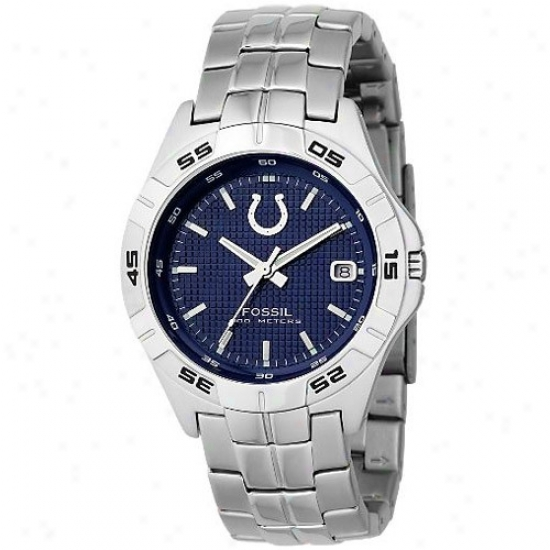 Colts Wrist Watch : Fossil Colts Men's Stainless Steel Analog 3 Hand Date Wrist Wafch