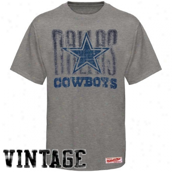 Cowboys Apparel: Mitchell & Ness Cowboys Ash Vintage Premium T-shirt