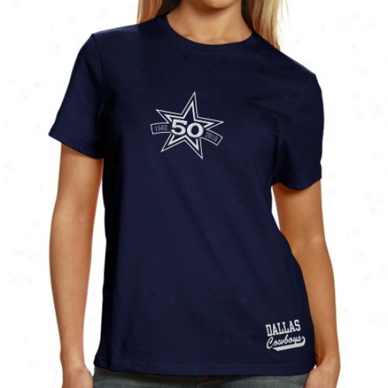 Cowboys Clothes: Reebok Cowboys Ladies Navy Pedantic  50th Anniversary T-shirt