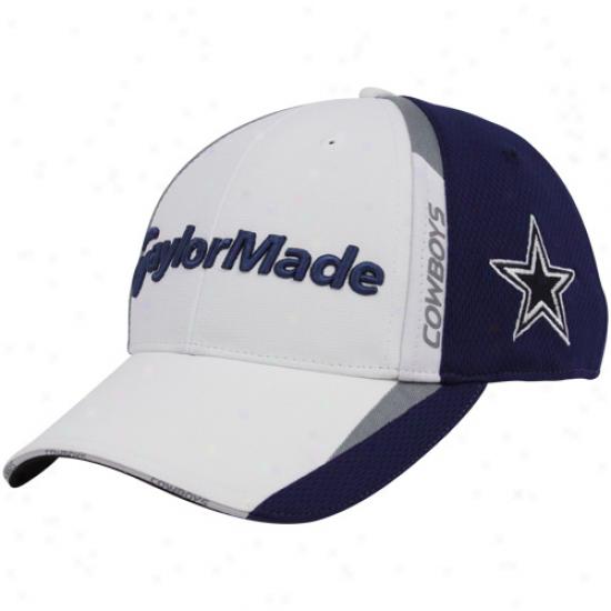 Cowboys Cap : Taylormade Cowboys White-navy Blue 2010 Nfl Golf Adjustable Cap