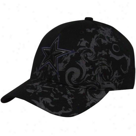 Cowboys Caps : Reebok Cowboys Blafk Yokohama Flex Fit Caps