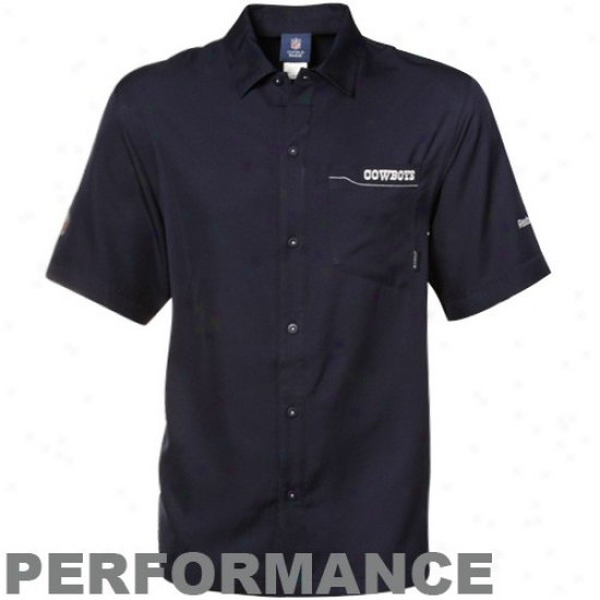 Cowboys Clothes: Reebok Cowboys Navy Blue Sideline Full Button Performance Polo