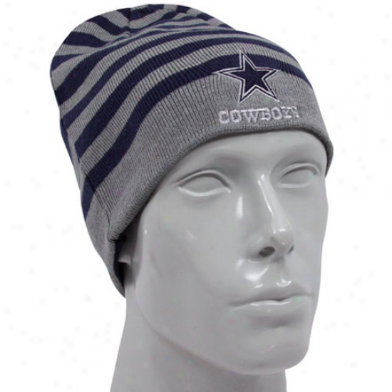 Cowboys Hat : Cowboys Navy Blue-gray Morgantown Reerse Knti Beanie