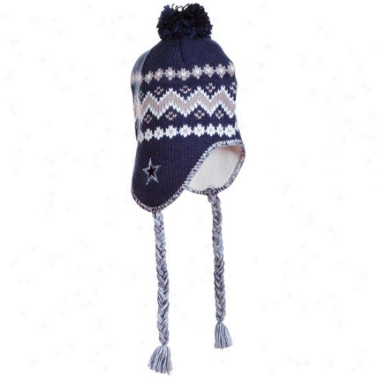 Cowboys Hat : Reebok Cowboys Ladies Navy Blue Knit Tassle Hat