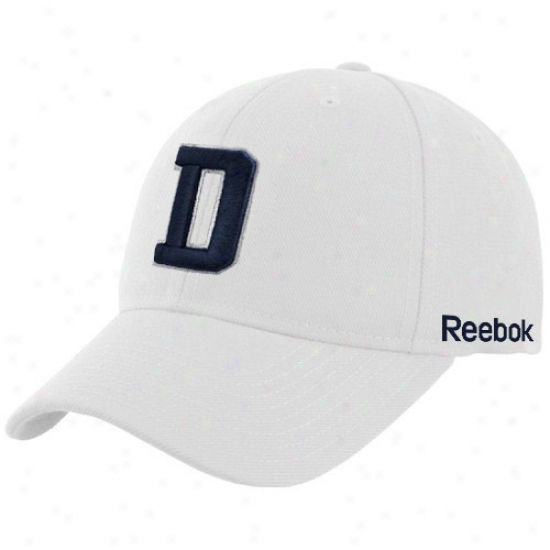 Cowboys Hat : Reebok Cowboys White Coaches Sideline Flex Fit Hat