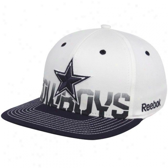 Cowboys Hat : Reebok Cowboys White Pro Shape Player Sideline Flex Fit Hat