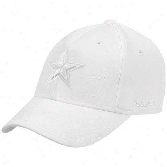 Cowboys Hat : Reebok Cowboys White Starship Flex Fit Hat