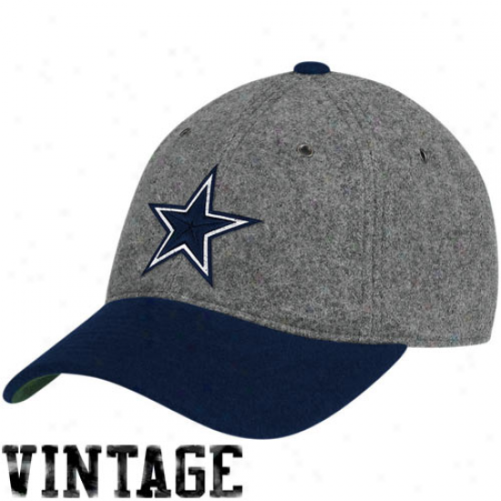 Cowboys Hats : Mitchell & Ness Cowboys Gray Mellton Wool Flex Hats