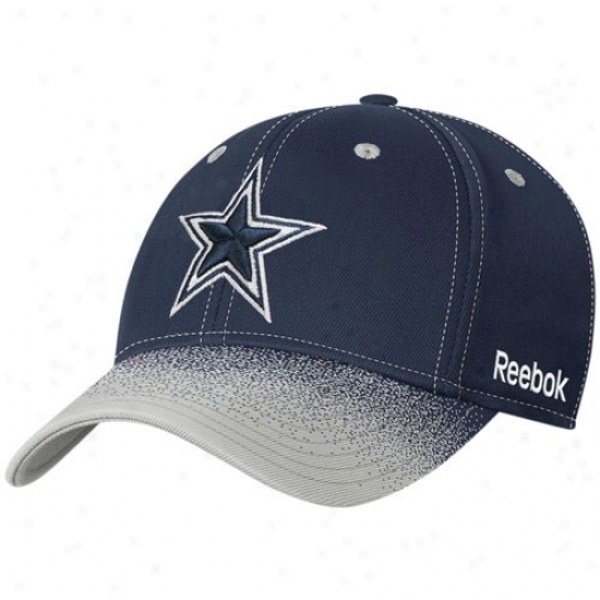 Cowboys Hats : Reebok Cowboys Nafy Blue Fadeout Sideline 2nd Season Player Flex Fit Hats