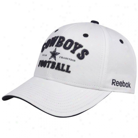 Cowboys Hats : Reebok Cowboys White Dallas Tradition Adjustable Hats