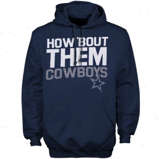 Cowboys Hoodies : Reebok Cowboys Navy Blue Chant Loud Pullover Hoodies