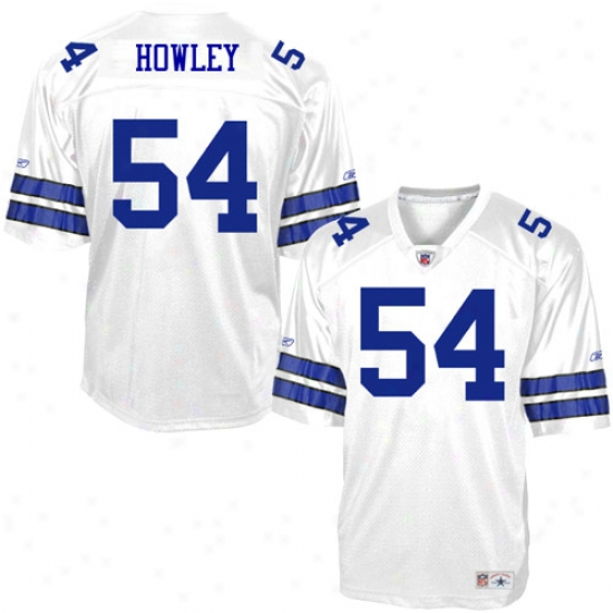Cowboys Jersey : Reebok Nfl Equipment Cowboys #54 Throw Howley White Legends Replica Football Jereey