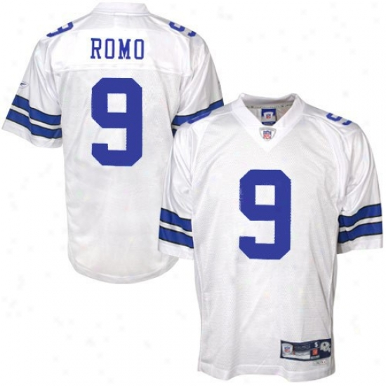 Cowboys Jerseys:  Reebok Nfl Equipment Cowboys #9 Dunce Romo White Premiere Tackle Twill Football Jerseys