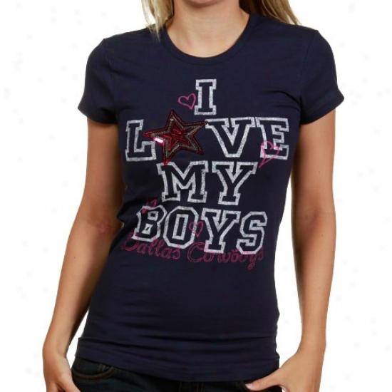 Cowboys Shirt : Cowboys Ladies Navy Blue Head Over Heels Premium Shirt