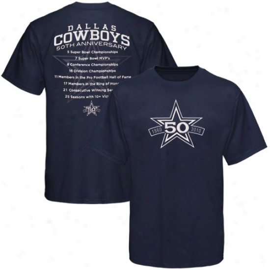 Cowboyz Shirt : Cowboys Navy Blue 50th Anniversary Stats Shirt