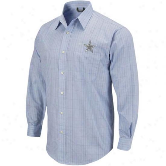 Cowboys Shirt : Reebok Cowboys Light Blue Long Sleevd Woven Button Down Shirt