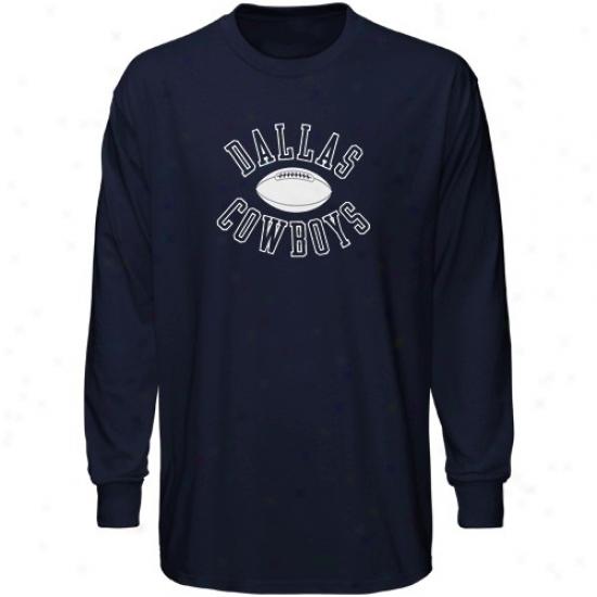 Cowboys Shirts : Cowboys Navy Blue The Distance Long Sleeve Shirts