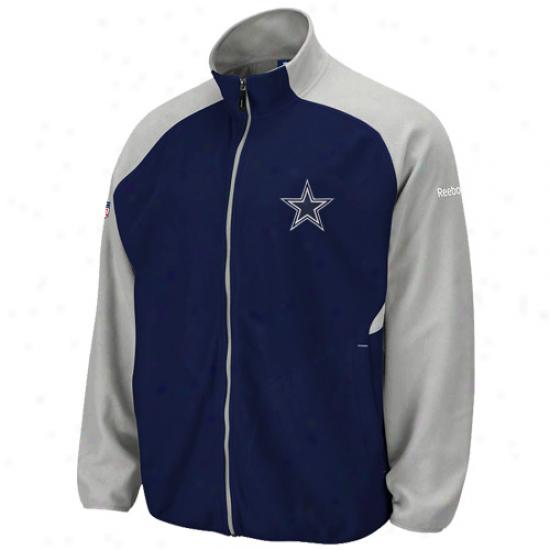 Cowboys Sweat Shirts : Cowboys Navy Blue-silver Sideline Full Zip Sweat Shirts Jacket