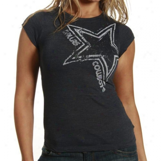 Cowboys T Shirt : Cowbohs Ladies Navy Blue Rising Star Triblend T Shirt