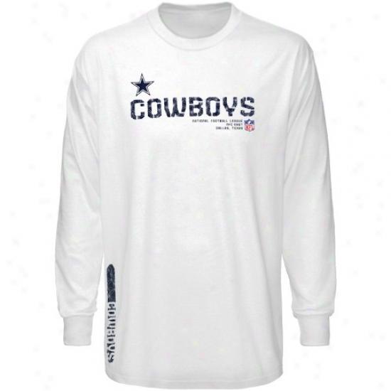 Cowboys T Shirt : Cowboys Youth White Sideline Tacon Long Sleeve T Shirt