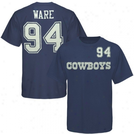 Cowboys T-shirt : Reebik Cowboys #94 Demarcus Ware Navy Blue Game Gear Player T-shirt