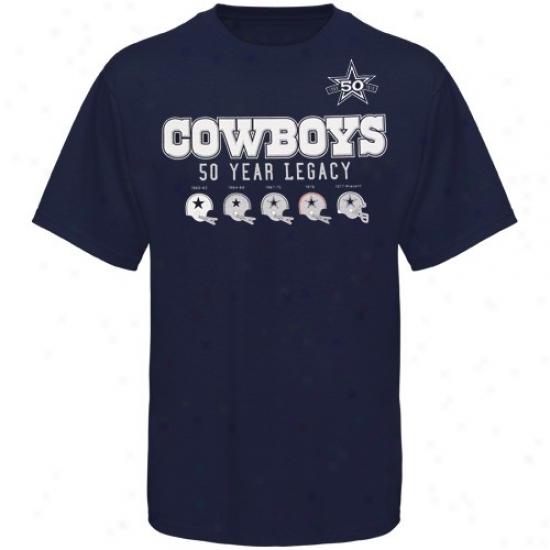 Cowboys Tee : Cowboys Navy Blue 50th Anniversary Helmet Tee
