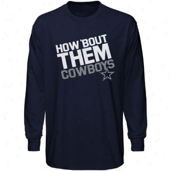 Cowboys Tees : Cowboys Youth Navy Blue Loud Chant Long Sleeve Tees