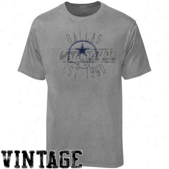 Cowboys Tshirts : Reebok Cowboys Gray Flank Formatio Pigment Dye Tshirts