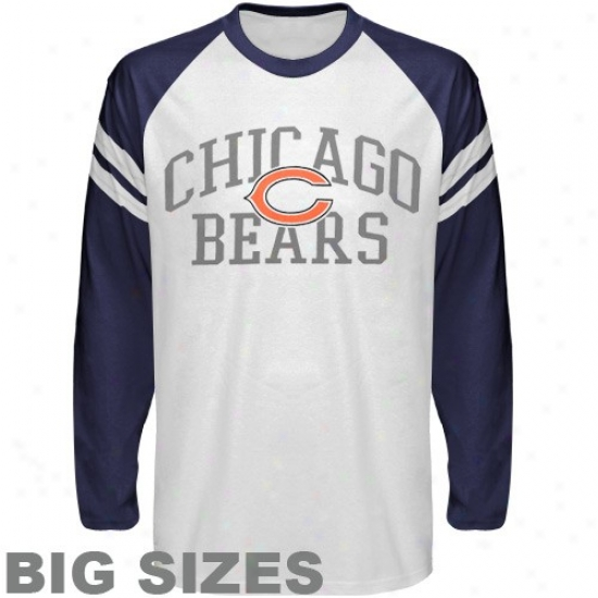 Da Bearss Apparel: Da Bears Whige Wide Stripe Logo Pregnant Sizes Long Sleeve T-shirt