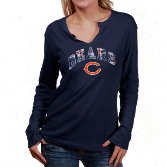 Da Bears Apparel: Reebok Da Bears Ladies Ships of war Blue Harmony Long Sleeve T-shirt