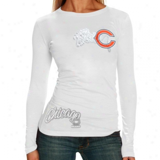 Da Bears Dress: Reebok Da Bears Ladies White Polka Baby Doll Premium Long Sleeve T-shirt