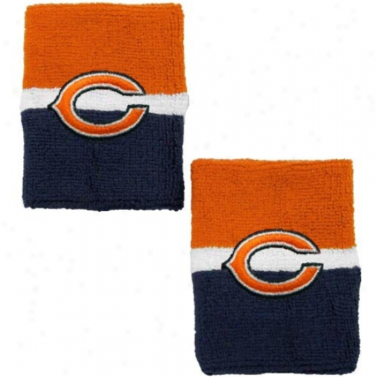 Da Bears Gear: Reebok Da Bears Orange-navy Blue Striped Wristbands