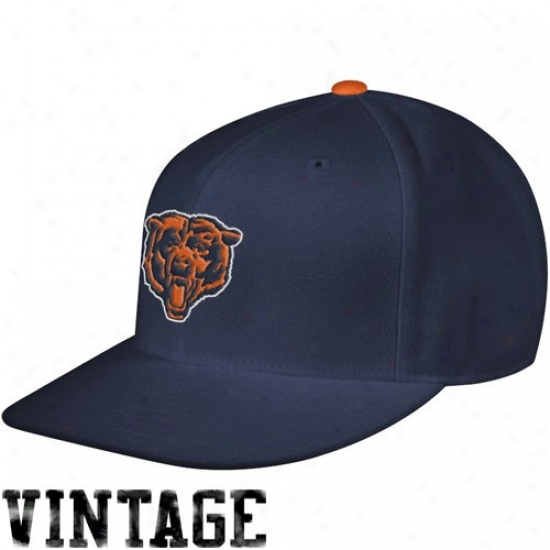 Da Bears Hats : Mitchell & Ness Da Bears Navy Blue Throwback Structured Fitted Hats